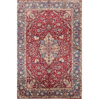 """Isfahan Hand Knotted Wool Persian Traditional Vintage Area Rug - 9'9"""" x 6'6"""""""
