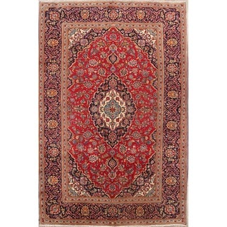 "Floral Hand Made Woolen Kashan Persian Area Rug - 9'10"" x 6'5"""