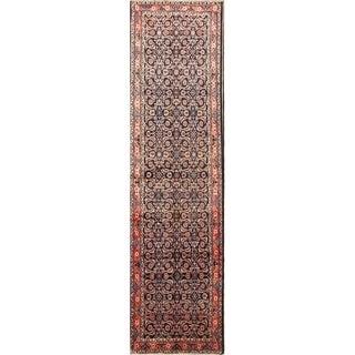 """Hamedan Hand Made Vintage Wool Floral Persian Rug - 13'0"""" x 3'5"""" runner"""