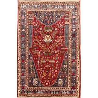 "Hand Made Traditional Geometric Red Kashkoli Shiraz Persian Area Rug - 7'9"" x 5'2"""