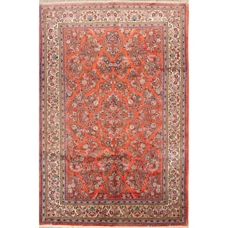 """Sarouk Hand Knotted Wool Floral Vintage Persian Area Rug - 9'9"""" x 6'7"""""""