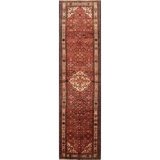 "Hamedan Hand Made Wool Palace Sized Persian Rug - 13'9"" x 3'7"" runner"
