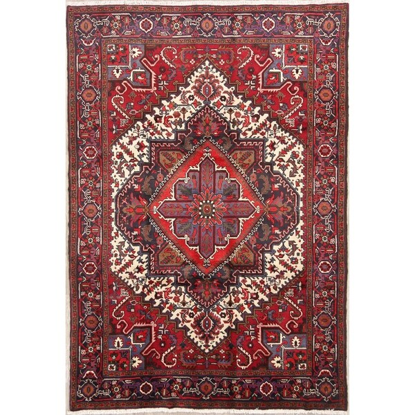 """Hand Knotted Geometric Heriz Persian Traditional Area Rug - 9'5"""" x 6'6"""""""
