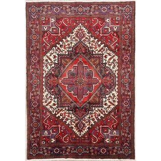 "Hand Knotted Geometric Heriz Persian Traditional Area Rug - 9'5"" x 6'6"""