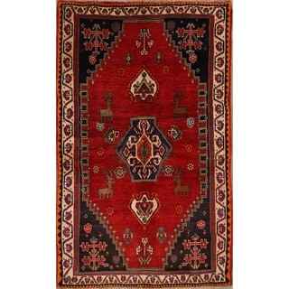 "Vintage Traditional Hand Made Woolen Shiraz Persian Area Rug - 6'8"" x 4'0"""