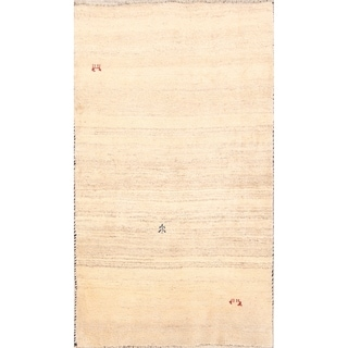 "Handmade Wool Contemporary Ivory Gabbeh Shiraz Persian Area Rug - 5'9"" x 3'5"""