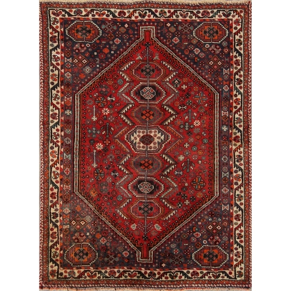 "Hand Made Wool Traditional Shiraz Persian Area Rug - 5'0"" x 3'8"""