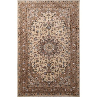 "Traditional Handmade Wool and Silk Floral Kashmar Persian Area Rug - 9'10"" x 6'6"""