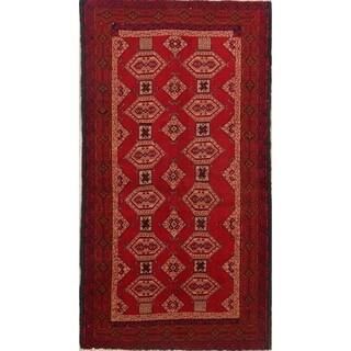 "Hand Made Wool Traditional Tribal Balouch Bokara Persian Rug - 6' x 3'3"" runner"