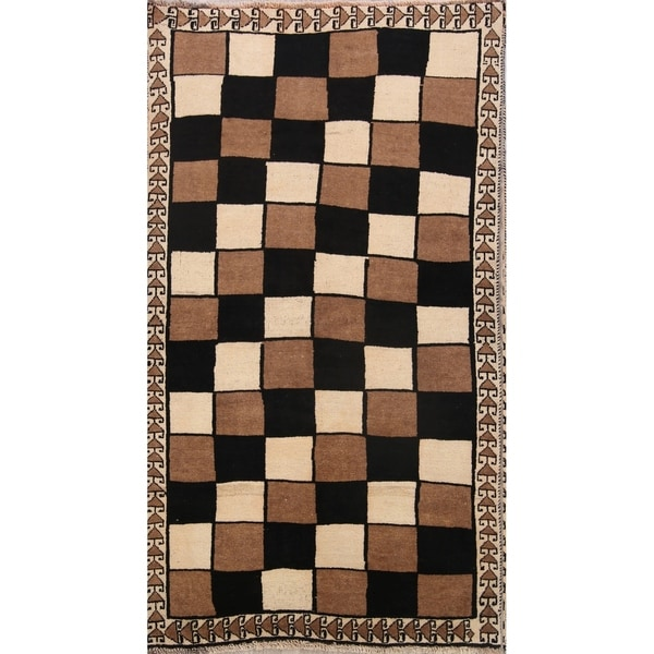 "Traditional Checked Modern Gabbeh Shiraz Hand Made Persian Area Rug - 6'8"" x 3'8"""