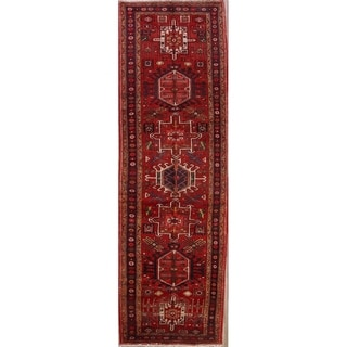 "Vintage Handmade Wool Traditional Geometric Tribal Heriz Persian Rug - 11'2"" x 3'7"" runner"