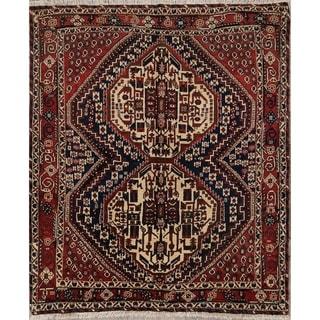 "Traditional Handmade Wool Afshar Sirjan Persian Vintage Area Rug - 5'2"" x 4'4"""