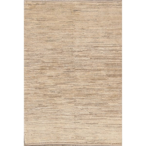 """Traditional Natural Dye Solid Ivory Gabbeh Zolanvari Persian Area Rug - 4'10"""" x 3'5"""""""