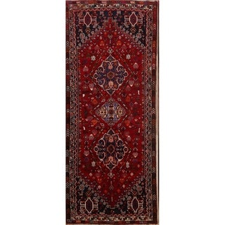 "Hand Made Wool Vintage Traditional Oriental Lori Shiraz Persian Rug - 9'1"" x 3'8"" runner"