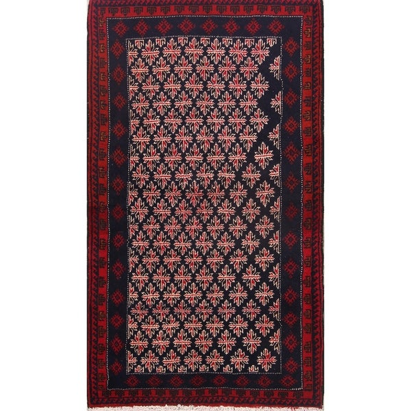 "Hand Made Traditional Geometric Balouch Bokara Persian Rug Wool - 5'10"" x 3'5"" runner. Opens flyout."