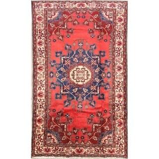 "Handmade Traditional Geometric Malayer Hamedan Persian Area Rug - 6'8"" x 4'1"""