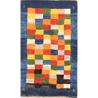"Checked Design Modern Gabbeh Shiraz Handmade Persian Area Rug Wool - 4'6"" x 2'11"""