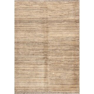 """Traditional Contemporary Solid Ivory Gabbeh Zolanvari Persian Area Rug - 5'2"""" x 3'10"""""""