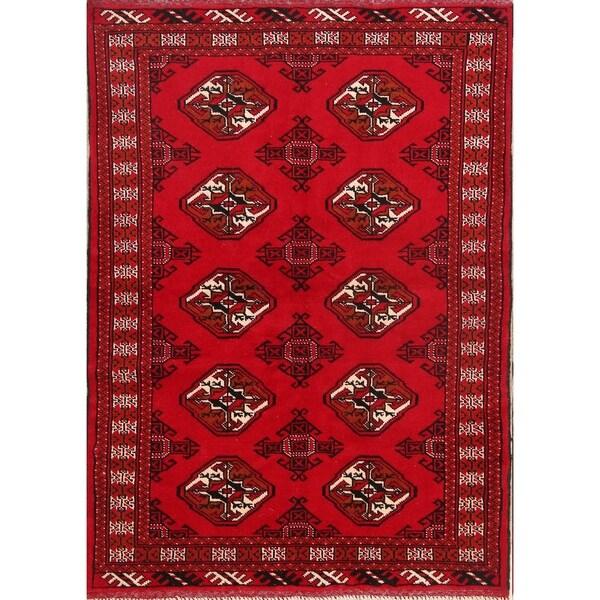 "Geometric Foyer Size Hand Made Balouch Bokara Persian Area Rug - 4'8"" x 3'4"""