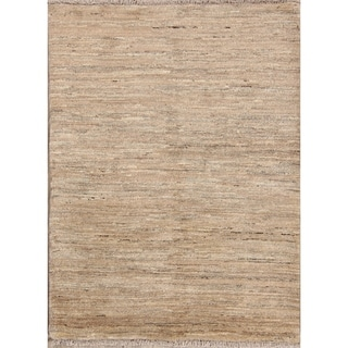 """Hand Made Vegetable Dye Solid Ivory Gabbeh Zolanvari Persian Area Rug - 5'1"""" x 3'6"""""""
