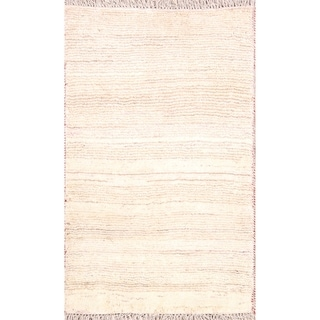 """Solid Ivory Gabbeh Shiraz Hand Knotted Persian Carpet Area Rug Wool - 4'3"""" x 2'7"""""""