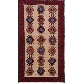 "Hand Made Woolen Traditional Balouch Persian Geometric Rug - 5'10"" x 3'3"" runner"