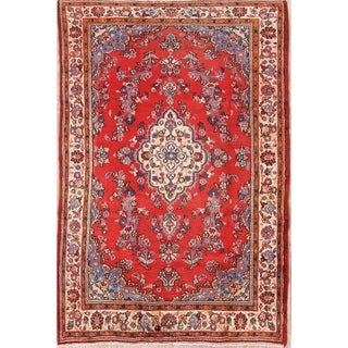 "Hand Made Wool Traditional Floral Hamedan Persian Area Rug - 7'0"" x 4'5"""