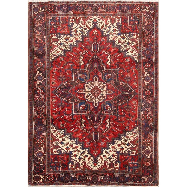 "Handmade Vintage Geometric Red Heriz Serapi Persian Area Rug - 9'5"" x 6'7"""