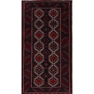 "Hand Made Wool Geometric Tribal Balouch Persian Rug - 6'3"" x 3'4"" runner"