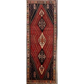 "Traditional Hand Made Wool Vintage Tribal Shiraz Persian Rug - 9'8"" x 3'7"" runner"