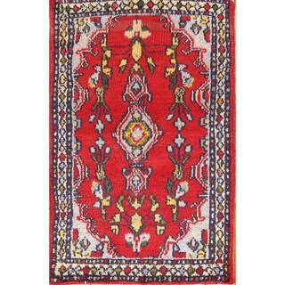 "Floral Hamedan Wool Hand Knotted Vintage Persian Area Rug - 2'9"" x 1'9"""