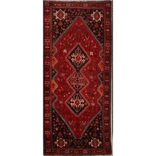 "Handmade Woolen Geometric Tribal Nomad Shiraz Persian Rug - 9'9"" x 3'9"" runner"