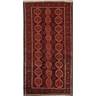 "Traditional Hand Made Geometric Tribal Black Balouch Persian Area Rug - 8'9"" x 4'6"""