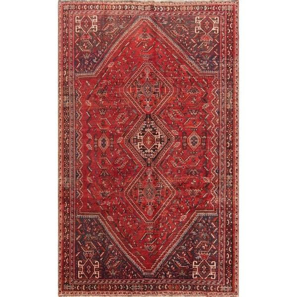 "Geometric Tribal Abadeh Shiraz Handmade Antique Persian Area Rug Wool - 9'4"" x 5'8"""