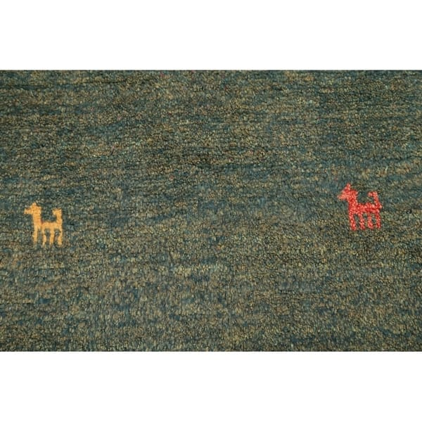 Little Animals Tribal Green Gabbeh Shiraz Handmade Persian Area Rug 4 2 X 2 7 Overstock 25638797