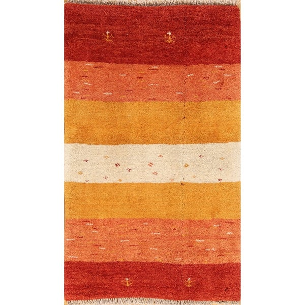 "Striped Modern Gabbeh Shiraz Hand Knotted Persian Area Rug Wool - 4'2"" x 2'7"""