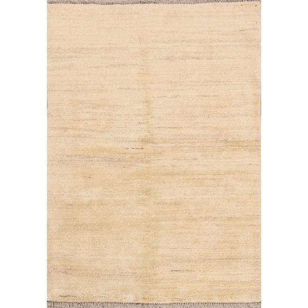 "Handmade Thick Pile Ivory Gabbeh Zolanvari Shiraz Persian Area Rug - 4'8"" x 3'5"""