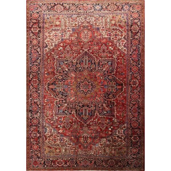 "Antique Handmade Traditional Vegetable Dye Heriz Serapi Persian Rug - 16'3"" x 11'8"""