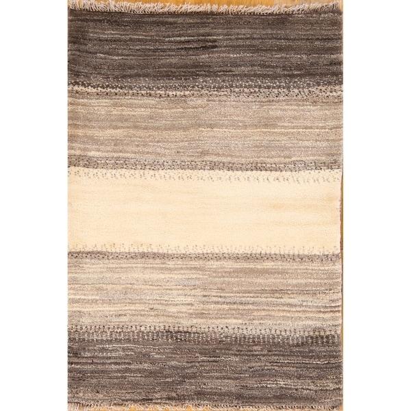 "Modern Gabbeh Zolanvari Shiraz Hand Knotted Wool Persian Area Rug - 3'10"" x 2'9"""
