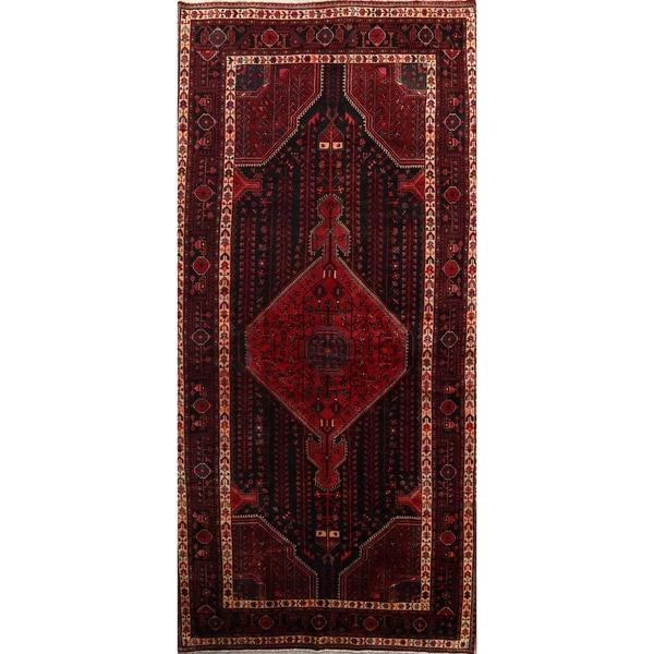 "Geometric Tribal Malayer Hamedan Handmade Vintage Persian Area Rug - 11'4"" x 5'4"""
