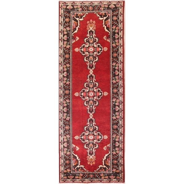 "Medallion Mahal Sarouk Hand Knotted Wool Vintage Persian Rug - 10'8"" x 4'0"" runner"