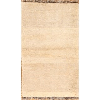 """Solid Contemporary Gabbeh Shiraz Hand Knotted Wool Persian Area Rug - 3'1"""" x 1'10"""""""