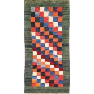 "Checked Design Gabbeh Shiraz Handmade Persian Rug Wool - 6'2"" x 3'0"" runner"