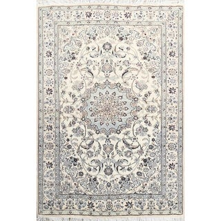 """Traditional Hand Knotted Floral Ivory Nain Isfahan Persian Area Rug - 6'9"""" x 4'7"""""""