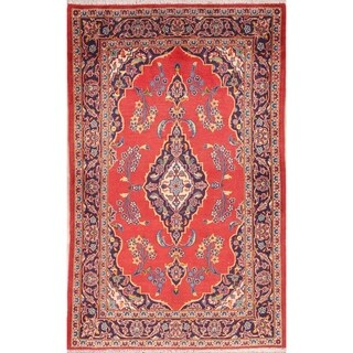"Floral Kashan Handmade Woolen Vintage Persian Carpet Area Rug - 5'10"" x 3'7"""