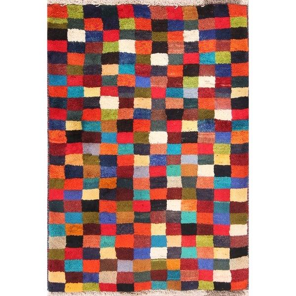 "Checked Modern Gabbeh Shiraz Handmade Wool Persian Rug - 4'0"" x 2'11"" runner"