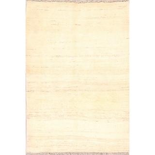 "Solid Ivory Gabbeh Shiraz Handmade Persian Area Rug Wool - 4'10"" x 3'6"""