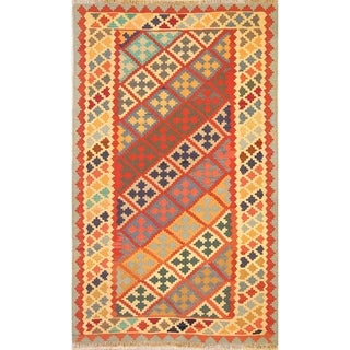 "Flat-Woven Tribal Geometric Kilim Shiraz Hand Woven Persian Area Rug - 7'0"" x 4'2"""