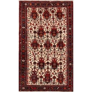"Traditional Hand Made Geometric Tribal Ivory Gharajeh Persian Area Rug - 6'8"" x 4'1"""