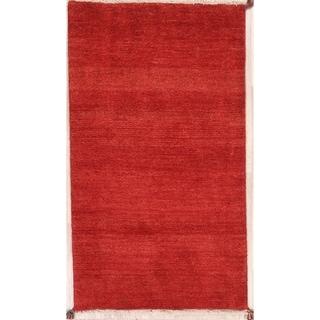 "Contemporary Solid Red Gabbeh Shiraz Handmade Wool Persian Rug - 5'5"" x 3'1"" runner"